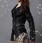 Women's Rock Punk Shoulder PU Leather Spike Studded Motorcycle Coat Jacket Plus