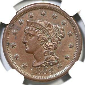 1854 N-20 R-3 NGC AU 55 Braided Hair Large Cent Coin 1c