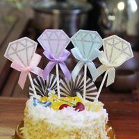 5Pcs Diamond Ribbon Cake Topper Birthday Party Baby Shower Cake Decoration Gift