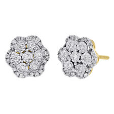14k Yellow Gold Diamond Flower Shape Studs Miracle Set 9.50mm Earring 0.49 Ct.