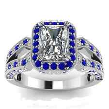 Fashion Square Shape 2.85ct White Sapphire 925 Silver Wedding Ring Size 9