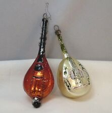 Lot of 2 Vintage Old Blown Glass Painted Czech Mandolin Japanese Lute Ornaments