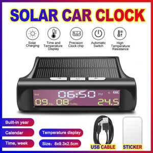 Car Smart Digital Clock USB Solar Charge LED Display  Calendar Time Temperature