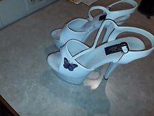 Ellie Stripper Exotic Dancer 6 Inch Platform Heels Size 9 (White)(Butterfly)