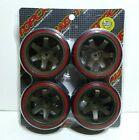 TOPCAD 71064 CE Drift Wheel & Tire Set (Red) 6-Spoke 1/10 Tamiya/HPI/HSP + BONUS