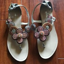 MIU MIU Sandals Flats 38 Floral Glitter LN SILVER 8 Prada Italy