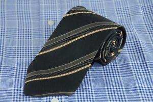 Hugo Boss Men's Tie Black Olive & Gold Striped Woven Silk Necktie 58 x 3.25 in.