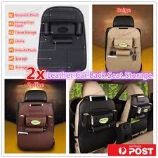 2x Leather Car Back Seat Bag Storage iPad Phone Holder Pocket Travel Organizer