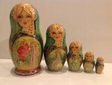 "Vintage Russian Nesting Doll Fedoskino Style ""Scarlet Flower"" 5 Pcs 7.5"""