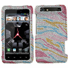 For Motorola Droid RAZR XT912 - DIAMOND BLING CASE COVER RAINBOW ZEBRA STRIPES