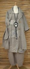LAGENLOOK LINEN QUIRKY 3 PCS JACKET+DRESS+TROUSERS***BEIGE***BUST UP TO 48""