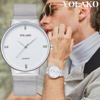 Trendy Men Ultra Minimalist Thin Watch Slim Steel Strap Stainless Steel Quartz