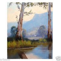 Farm Painting Trees Landscape Realistic Australian Art By Listed Artist Gercken