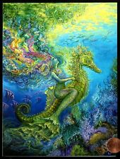 JOSEPHINE WALL Seahorse Mermaid Coral Sea - GLITTERED Birthday Greeting Card NEW