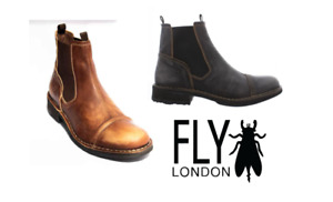 Fly London Mens RAMZ975FLY Black, Tan Slip On Soft Leather Comfort Casual Boot