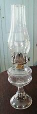 Ca 1889 Victorian Glass Sewing Oil Lamp Hobbs Plain Band, Chimney & Burner