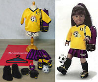 American Girl Doll Clothes SOCCER GEAR OUTFIT Ball #11 Purple Bag Cleat Shoes +