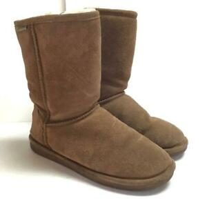 Bearpaw Emma Short Womens 8 39 Suede Boots Tan Hickory Sheepskin Wool Lined