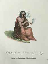 1772 Hudson Bay NATIVE AMERICAN Hand Colored Print Thomas Jefferys Pipe Cree