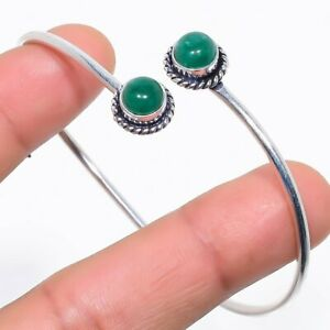 Sakota Mines Emerald Gemstone Silver Jewelry Cuff Bracelet Adjustable RC336