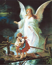 GUARDIAN ANGEL PICTURE GIRL PICKING BERRIES BEAR RELIGIOUS ART PRINT 13X17
