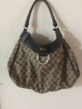 GUCCI D-RING CANVAS/LEATHER MONOGRAM HOBO BROWN BAG.