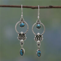 Vintage Boho 925 Silver Turquoise Gemstone Drop Dangle Hooks Wholesale Earrings