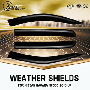 4PCS Weather Shields Window Visors For NISSAN NAVARA NP300 D23 2015-UP BLACK