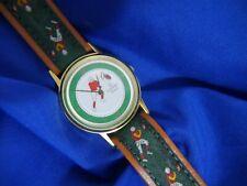 GIORDANO SECOND HAND A FOOTBALL GREEN & BROWN BAND watch new battery WORKS A20