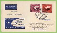 Germany 1955 Lufthansa Flight Cover, Cologne to Frankfurt