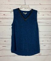 41 Hawthorn Stitch Fix Women's M Medium Blue Black Sleeveless Spring Top Blouse
