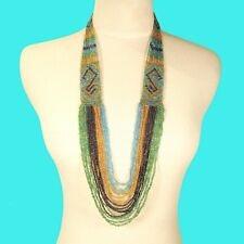 """36"""" Waterfall Blue Green Gold Multi Strand Handmade Seed Bead Statement Necklace"""