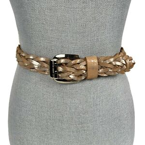 ANNE KLEIN Sz S Rose Gold Metallic Woven Braided Leather Boho Belt Double Prong
