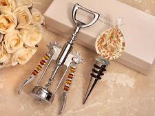 Murano Design Gold & White Wine Stopper & Opener Favor Set
