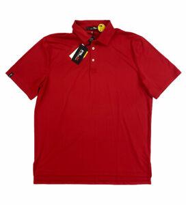 NEW RLX Ralph Lauren UV Wicking Short Sleeve Golf Mens Polo Shirt Solid Red NWT