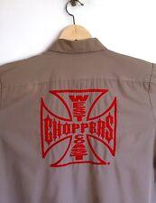 WEST COAST CHOPPERS Jesse James Work Wear Button Down Shirt Khaki Tan Size L