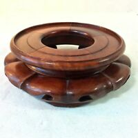 """CHINESE CARVED RND WOOD STAND FOR VASE POT TOP HOLE FOR VASE 4.5-4 5/8"""" RED BRN"""