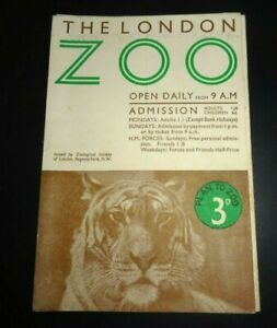 Original London Zoo Vintage Guide and Map c1950s