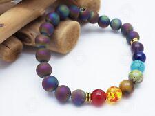 Energy Natural Stone Onyx Geode Uni Chakra Healing Balance Beads Bracelet Yoga