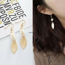 Korean Fashion Women Pearl Beaded Ball Party Leaf Long Drop Dangle Hook Earrings