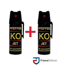 Bombe Lacrymogene pack Spray de défense 50 ml Gaz CS + 50 ml Gaz CS  KOFOG JET