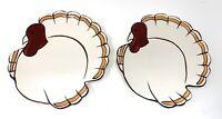 Set of 2 Pottery Barn  GOBBLE Plates Thanksgiving Turkey Salad Dessert Appetizer