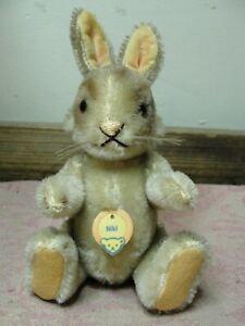 Vintage Steiff Niki Jointed Mohair Bunny Rabbit Stuffed Plush Animal