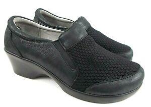 Alegria ERY-474 US Women 9 M EU 39 Black Leather/Mesh Slip On Clog Loafers Shoes