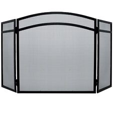 Milton Fire Guard Arched Black Spark Cover Shield 3 Panel Protector Fireside