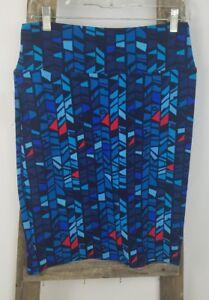 Lularoe Cassie women M pencil skirt below knee wide waist band blue