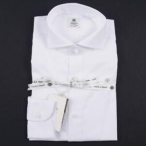Luigi Borrelli Napoli Slim-Fit White Woven Cotton Dress Shirt 18 x 36