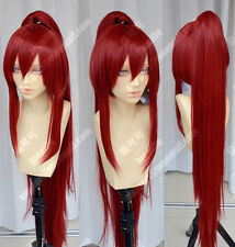 New Fairy Tail Erza Scarlet Dark Red Cosplay Party Ponytails Full Hair Wig GU20