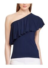Women's Chaps Ruffled One-Shoulder Top Navy Blue Sleeveless SIZE Large NWT