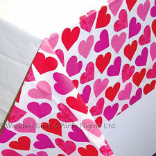 Red + Pink Hearts Paper Table Cover Engagement Party Valentine Day Wedding